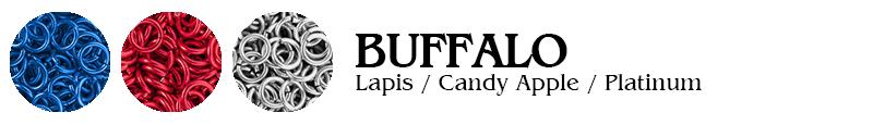 Buffalo Football Jump Rings : Lapis / Candy Apple / Platinum