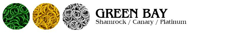 Green Bay Football Jump Rings : Shamrock / Canary / Platinum