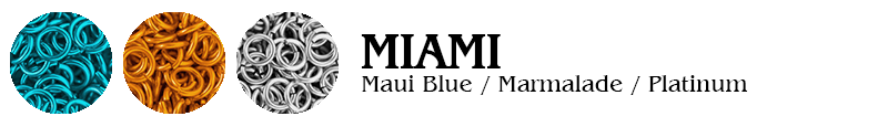 Miami Football Jump Rings : Maui Blue / Marmalade / Platinum