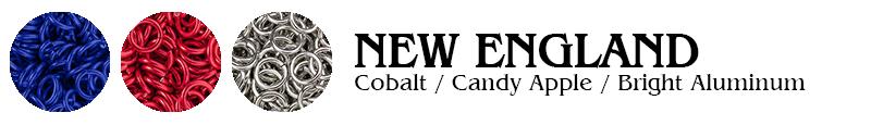 New England Football Jump Rings : Cobalt / Candy Apple / Bright Aluminum