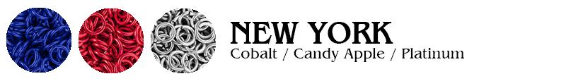 New York Football Jump Rings : Cobalt / Candy Apple / Platinum