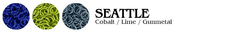 Seattle Football Jump Rings : Cobalt / Lime / Gunmetal