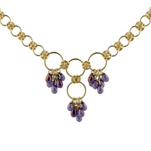 Amethyst Rain Drops Chain Maille Necklace