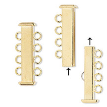 Square Tube Clasp Gold Plated Brass
