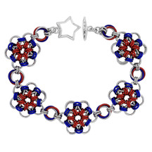 Americana - Japanese Flower Chainmaille  Bracelet Kit