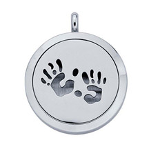 Stainless Steel Handprints Aromatherapy Locket