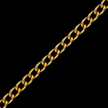 Chain by the Foot - Gold Finished Steel Curb Chain 3.06mm x 4.71mm - 1 foot
