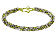 2-Color Byzantine Bracelet Kit - Bright Aluminum & Peridot Enameled Copper