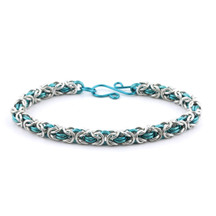 2-Color Byzantine Bracelet Kit - Silver/Pacific Blue