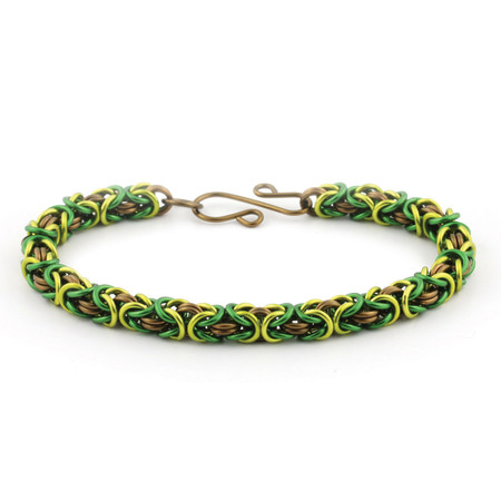 3-Color Enameled Copper Byzantine Bracelet Kit - Forest