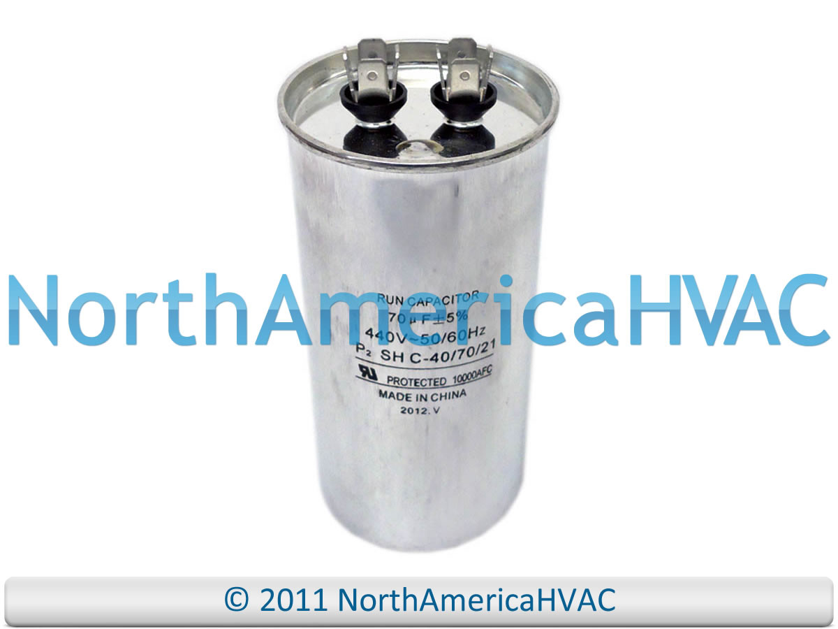 NEW Motor Round Single Run Capacitor 70 MFD 370 440 VAC Volt Packard