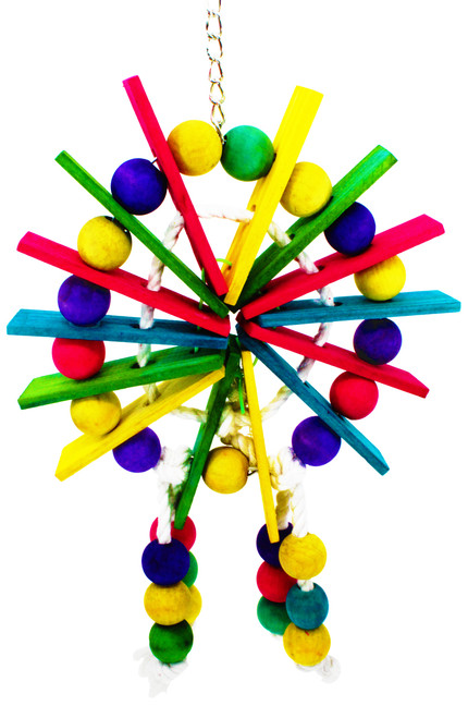 """825 Ferris Wheel, what a wonderful chewy toy for your medium bird with an abundance of multi colored flat wood and multi colored wood balls attached together with natural 100% cotton rope great for perching while chewing and swinging. Measures about 15"""" high and about 8"""" wide."""