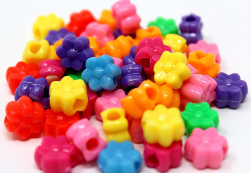 48pc Colored Plastic Flower Pony Beads