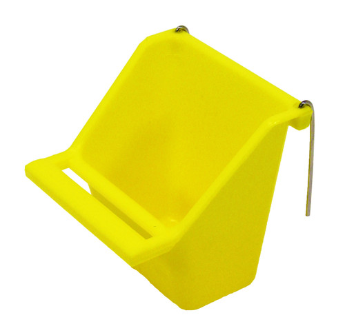 Yellow color 36073 Small high back universal hanging cup is made of durable plastic and can either hold water or food.