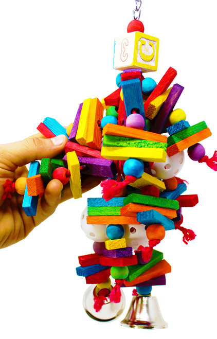 00451 Wonder cluster is a good toy for medium-sized birds with distinctive planks of wood and vibrant colored balls for your bird to explore, climb, and play.