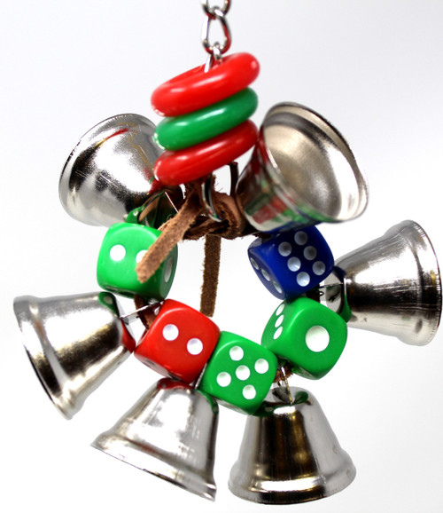 1430 Dice ringer, a simple but effective little toy for your small feathered companions. A circular array of brightly colored dice along with five bells, tied with knotted leather.