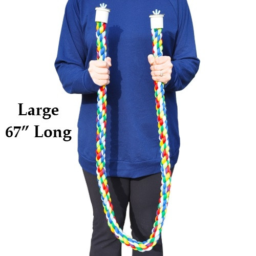 1899 Large rope perch, made from colored soft cotton, it measures approximately 67 inches long with a 1 1/2-inch rope diameter.