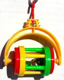 Barrel bell toy, a colorful foot toy to be tossed around within the cage or hung. The durable plastic constructed barrel is brightly colored, can be used for other toy making projects. This makes for a great gift.