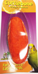 30004 Medium cuttlebone, orange flavor, is an excellent calcium source for birds, the rough edible surface helps trim their beaks as well as to provide something for them to chew on.