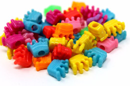 48pc Colored Plastic Crown Pony Beads