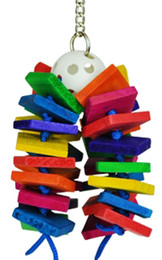 1790 Ball Step cluster is a feast of color, it consists of 32 small colorful square wood chew pieces threaded through a plastic Wiffle ball, a multi use toy, great for climbing, chewing and pulling.