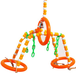 Orange color 1947 Bridge Me Swing will allow your bird to swing to and from with ease making beautiful noises with the sound of the bell from above.