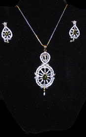 Designer Faux Diamond Necklace Set #D127