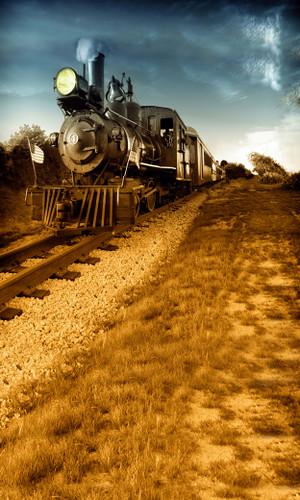 American Train Tracks Backdrop