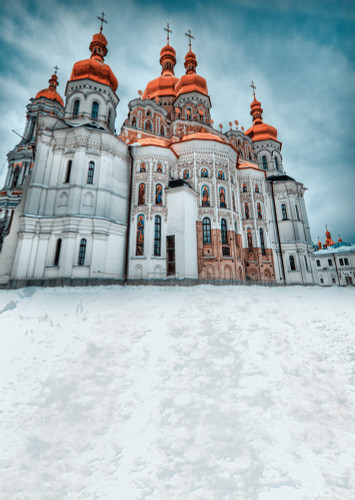 Snowy Church Photography Backdrops