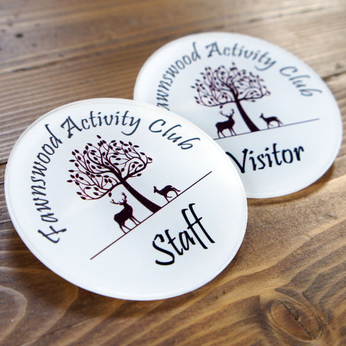 Printed acrylic badges with either a pin or magnetic fixing