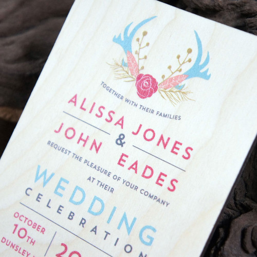 Printed wooden event invitation on birch ply.