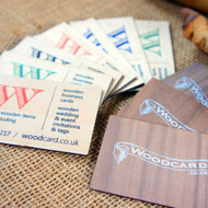 Wooden Printed Business Cards - We use birch ply on the one side and walnut veneer on the other side.  Your artwork can be printed onto 1 or both sides of the wooden business card.