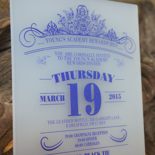 Printed Opal Invitation - Artwork is printed onto the front of opal acrylic.