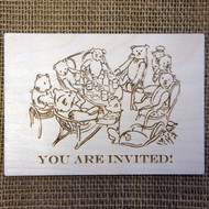 An example of an engraved design onto our birch wood postcard.