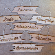 Shaped (Jagged Edge) Signs - wooden signs produced from 4mm stained and distressed pine.