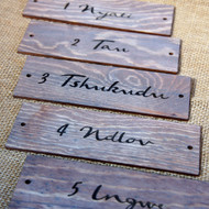 Engraved Door Signs - wooden signs produced from 4mm stained and distressed pine.