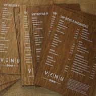 Wooden Printed Menu - onto distressed 4mm oak veneered mdf