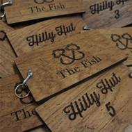 8mm oak keyfobs - distressed wood keyrings with shackle fixing