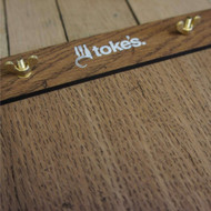 Wooden printed A5 menu board with engraving on the rear and front top wooden clamp with wingnut fixing.