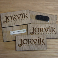 silver / grey wood badges - 4mm oak veneered with a selection of fixings