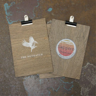 Wooden grey wood clipboards.  Available in 3 sizes, to suit DL, A5 and A4 paper.  Options for distressed and plain wood.  With bulldog clips.