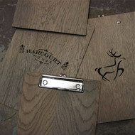 Rustic, distressed silver / grey wooden clipboard with fixed clip fixing.  With engraved graphic / logo to the rear. Shown in A5 size.  Distressed and undistressed clipboards shown.