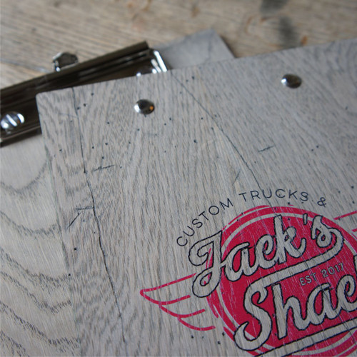 A selection of rustic wood clipboards available with full colour printed graphics and fixed clip - A4, A5 and DL sizes available.