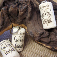 Personalised wedding or party favours. Engraved Cork Keyrings.