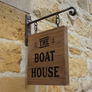 Rustic oak projecting sign and bracket.  Distressed oak wooden sign and rusted bracket.  Suitable for homes and businesses.