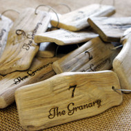 Engraved Driftwood Keyrings with screw connector - ideal for seaside hotels, pubs and B&Bs