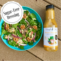 Simple Girl Organic Mustard sugar-free and fat-free dressing in action.