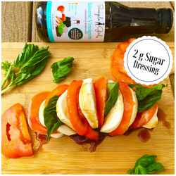 This simple Girl's low carb dressing works wonders on the mozzarella, tomato, and basil log.
