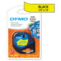 "Dymo 91332 1/2"" (12 mm) x 13' Black on Hyper Yellow Polyester LetraTAG Tape"