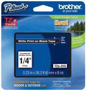 TZe315 White On Black Ptouch Tape